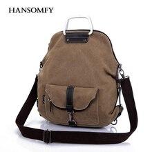 Hansomfy женщины холщовый мешок моды случайные сумки женские сумки на ремне студенческие путешествия рюкзак женщин высокого качества crossbody сумки