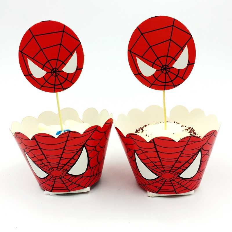 12 pçs cupcake envoltório + 12 pçs bolo topper spiderman cozimento decoração do chuveiro do bebê menino favor crianças aniversário festa de casamento suprimentos