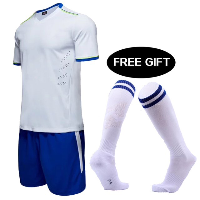 Kids Football socks Free 2018 New Soccer Jersey Set Uniforms Custom  Children Short sleeve Football Kit Shirt shorts Tracksuit ee92e8e9a