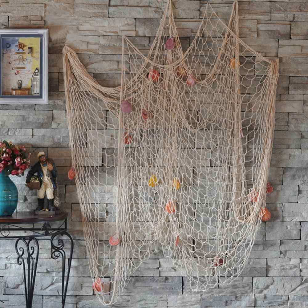12203bc279242 3d Sailor Style Wall Sticker Door Hanging Mural Nautical Fishing Net  Seaside Fish Party Decor Kids