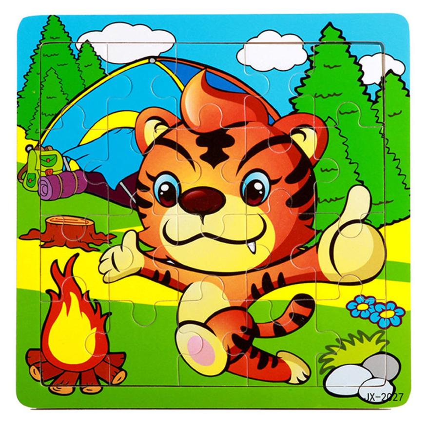 Wood tiger design Puzzle Letter Kid Learing Educational Jigsaw toys gift for children 2-4 years old brinquedos #XT
