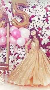Image 4 - Золотые платья для маленьких девочек, бальные платья для детей, платье для дня рождения, красивые цветы для девочек, платье с золотыми блёстками, длинное платье