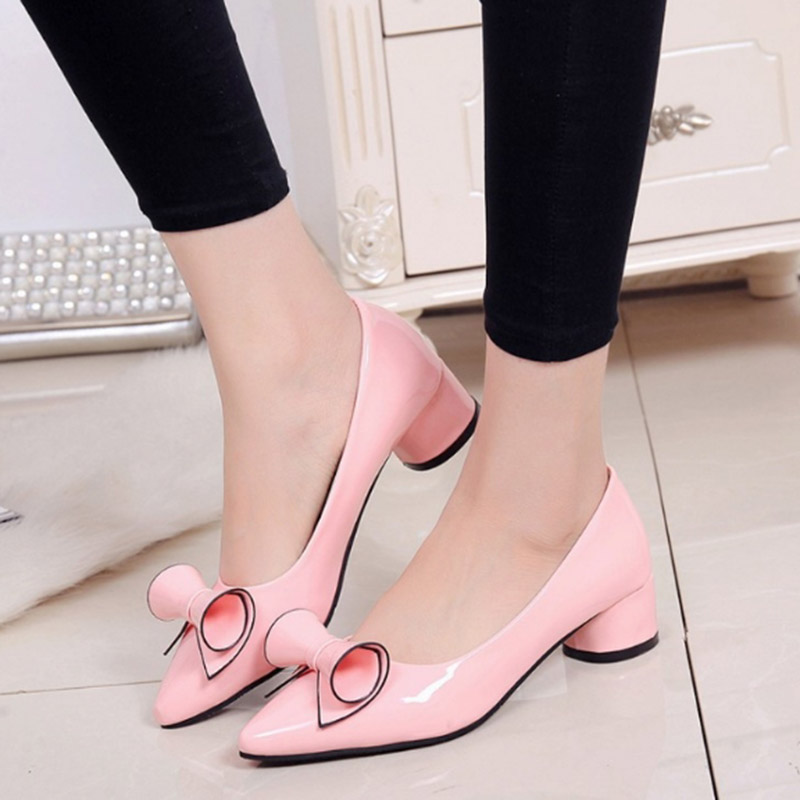 2017 Summer New Arrival Women Patent Leather Shallow Mouth Single Middle Heels Shoes Pointed Toe Bowknot Single Heels Size 34-40 totachi масло totachi atf ws 20л
