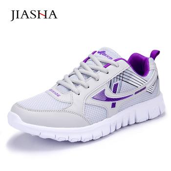 Nowe modne buty w stylu casual damskie sneakersy lekkie damskie buty 2019 damskie oddychające siatka powietrzna buty damskie trampki damskie tanie i dobre opinie JIASHA Mesh (air mesh) Dla dorosłych Pasuje prawda na wymiar weź swój normalny rozmiar Szycia Tkanina bawełniana Wiosna jesień
