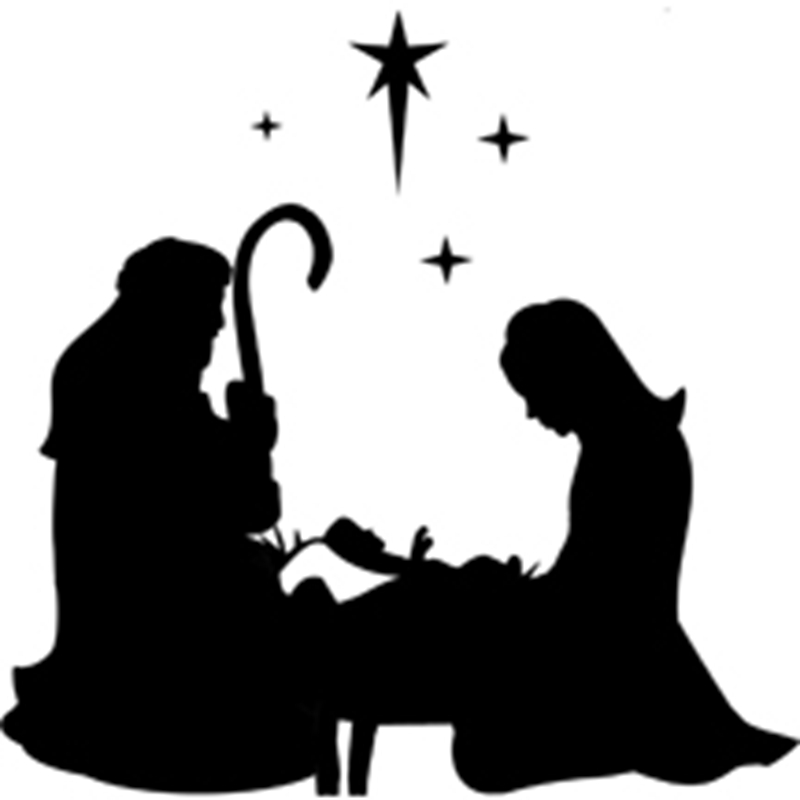 mary  u0026 joseph kneeling with manger and stars vinyl decal