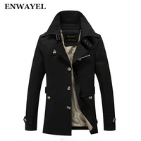 ENWAYEL 2017 Spring Autumn Jacket Men Slim Fit Trench Coat Mens Cotton Button Male Casual Windbreaker