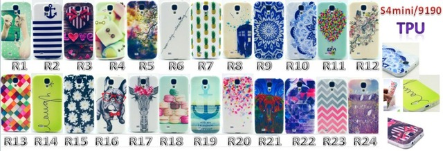 24 Lovely Ultra Thin Soft TPU case for Samsung s4 mini Silicon Gel Back cover Printing Case For Samsung Galaxy S4 Mini i9190