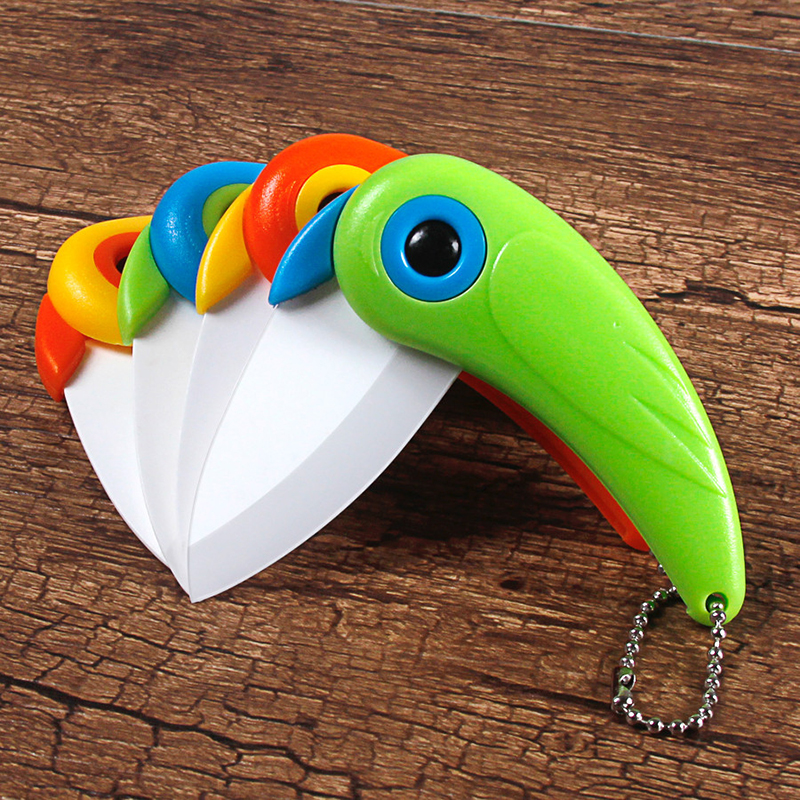 Pare Peel Fold Blade Mini Vegetable Kitchen Cutter Peeler Camping Pocket Knife Bird Picnic Lunch Cut Slice Ceramic Fruit Cutlery