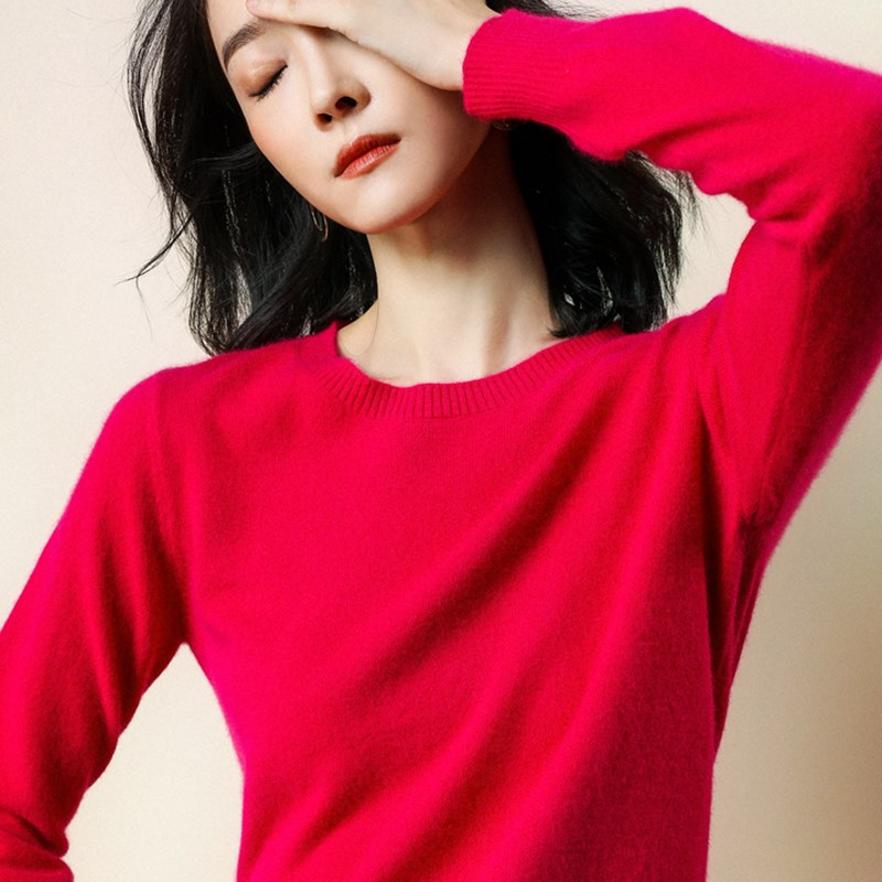 Warm Cashmere Sweater Women Sweaters And Pullovers Women Fashion O Neck Solid Color Long Sleeve S-XXXL Knitted Sweater