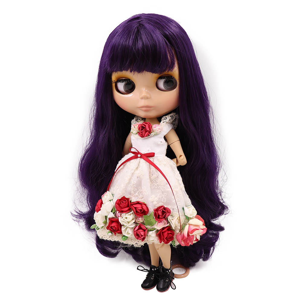 Blyth nude doll joint Body ICY deep purple hair Tan skin glossy face with bangs BJD