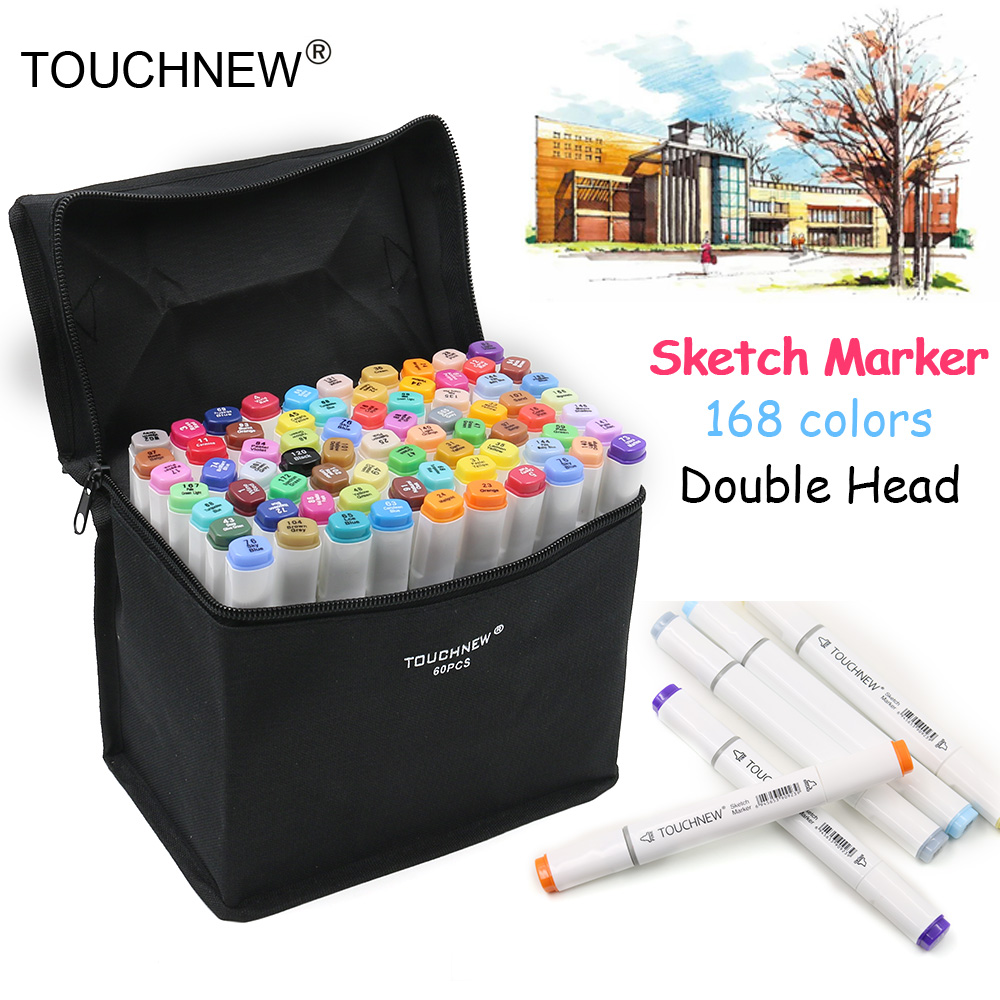 TOUCHNEW 168 Colors Sketch Markers Pen Oily Alcohol Painting Manga Dual Headed Art Marker Set Stationery Pen For School Drawing