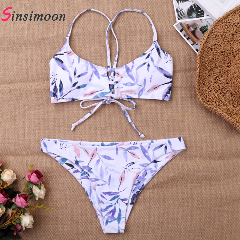 Sexy hollow out plant print lace up bikini set Girls swimwear women swimsuit large sizes beach swimming biquini in Bikinis Set from Sports Entertainment