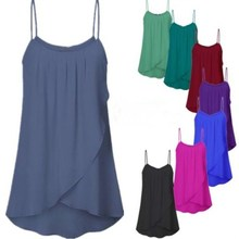 Womens Fashion Plus Size Casual Sleeveless Chiffon Tank Tops Sexy  Club Summer Women Solid Camis