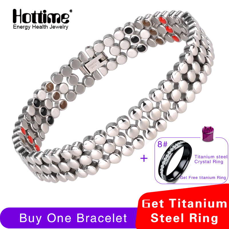 Hottime 66 PCS Energy Stone 316L Stainless Steel Magnetic Bracelet & Bangle Silver Germanium Bracelets Fashion Men Women JewelryHottime 66 PCS Energy Stone 316L Stainless Steel Magnetic Bracelet & Bangle Silver Germanium Bracelets Fashion Men Women Jewelry