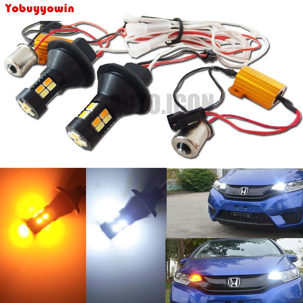 Canbus 1156 Ba15s P21w S25 Dual Color Switchback Led Turn Signal Drl Switch Back Wiring Light With Function Kit Lens Error Free Bau15s Py21w In Lamp From