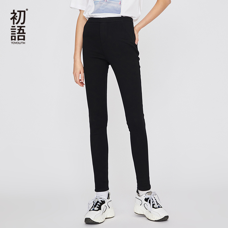 Toyouth Streetwear Black Skinny Pants Women Elastic Waist Trousers Winter Warm Mujer Pantalones Korean Casual Pencil Pants 2018