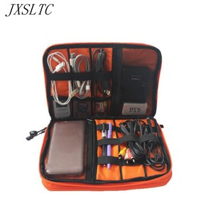 JXSLTC Double Layer Cable Organizer Storage Bag Cases for Headphones Portable Electronics Hard Drives Digital Gadget Travel Bags(China)