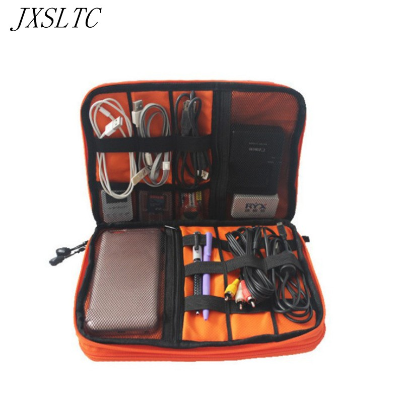 JXSLTC Double Layer Cable Organizer Opbevaringstaske Cases til hovedtelefoner Portable Electronics Harddiske Digital Gadget Travel Bags
