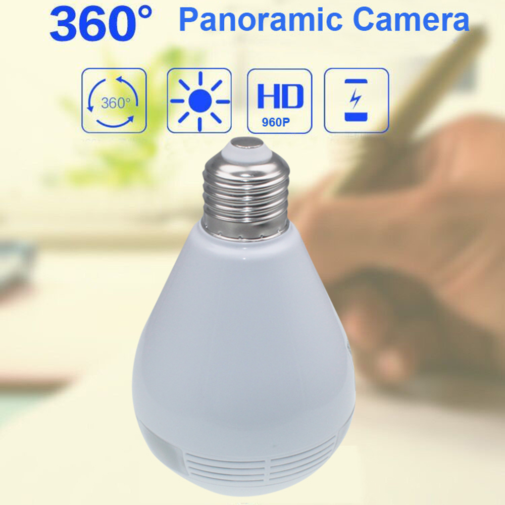 JCWHCAM Bulb LED Light wifi IP Camera Wi-fi Fish-eye 960P 360 degree CCTV VR Camera 1.3MP Home Security WiFi Panoramic camera vr360 panoramic camera wi fi remote control sports action camera