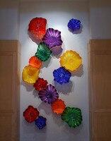 Художественный Цветочный на стене Подсветка салона Bold Цветной Стороны Взорван Муранского Стекло настенные тарелки