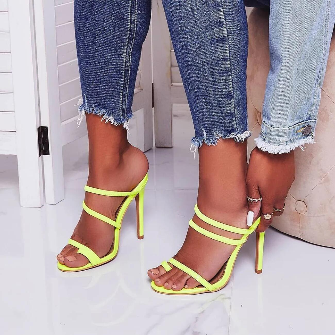Slippers Sandals Hollow-Shoes High-Heeled Summer Women New 35-40 Toe Thin Flop Slides