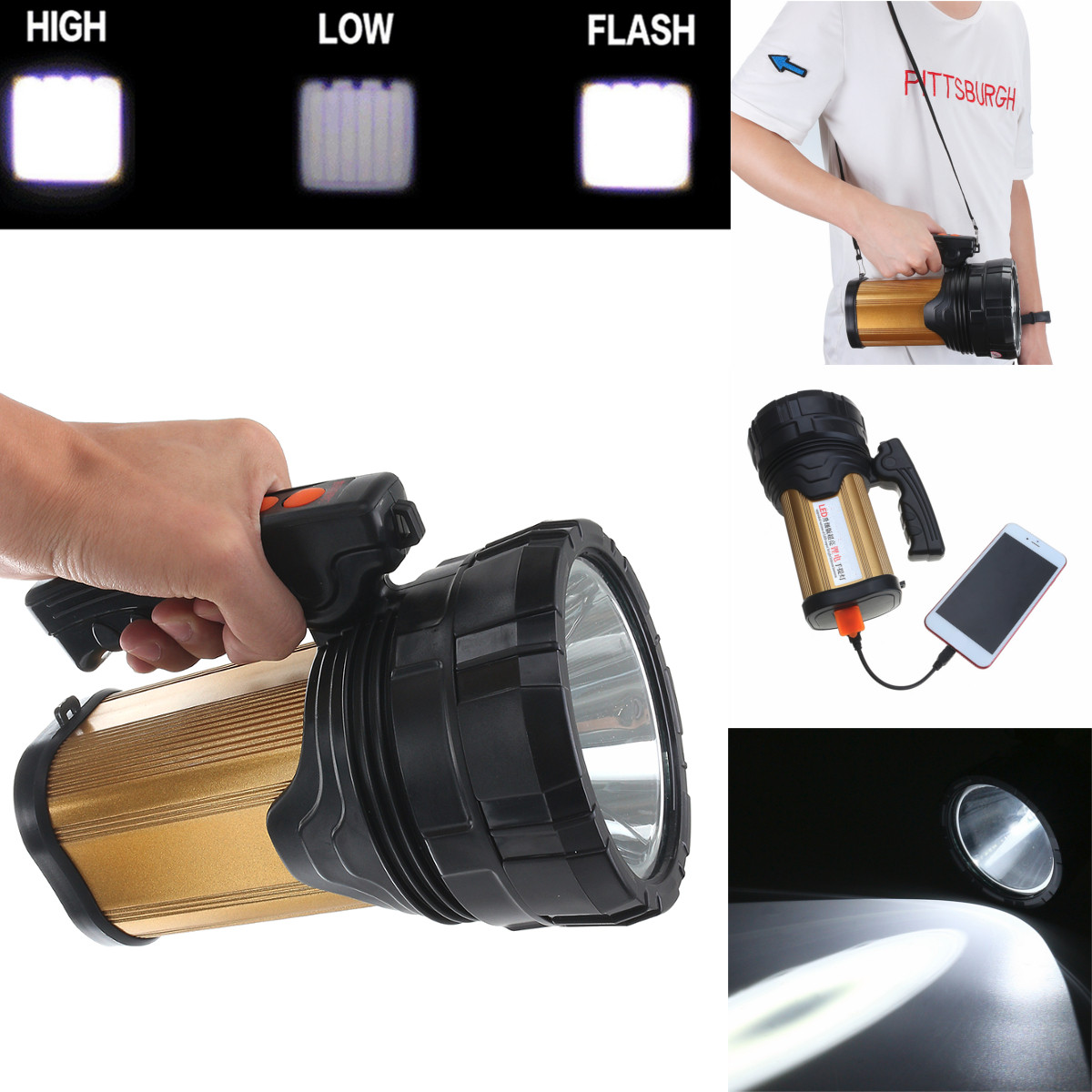 Portable Spotlight Lantern 120W LED Searchlight Rechargeable Handheld High Power Portable Light for Outdoor Camping