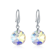 Simple Round Austria Crystals From Swarovski Drop Earrings For Women Colorful Beads Silver Color Ethic Jewelry Best Friends Gift(China)