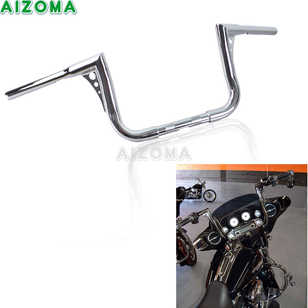 10 Rise Motorcycle Ape Clubman Handlebar 32 Wide Taper Handle Bars Chrome for Harley Sportster Touring