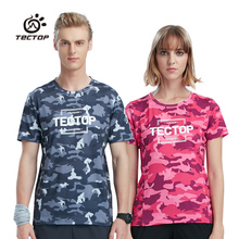 Tectop New Outdoor Summer Lovers Men Women Quick Dry Short-sleeve T-shirts Sports Travelling Hiking O-neck Camouflage Tees S-3XL