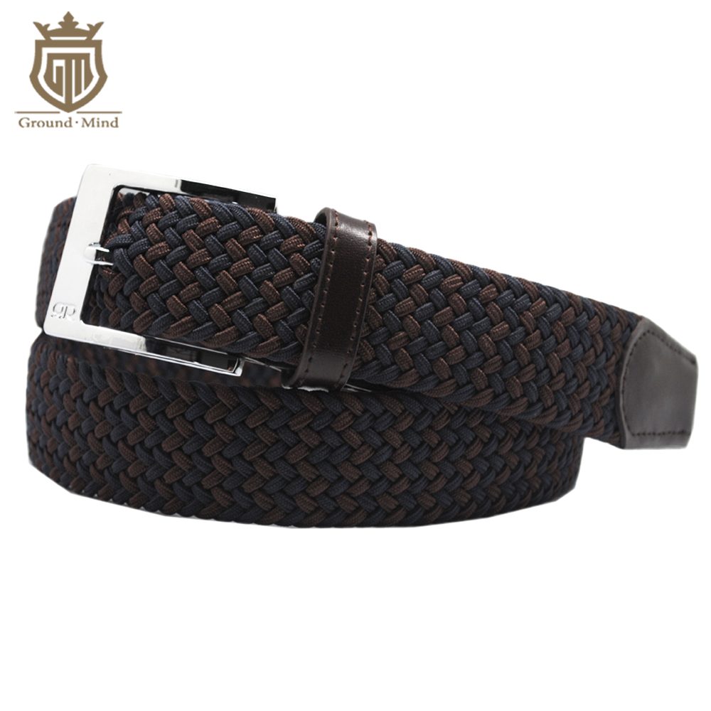 New elastic braided men belts fashion woven genuine leather head&tip brushed metal pin buckle casual style (Blue+Brown)