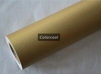 Золотая 3d винил с рисунком под углеродное волокно клеящеяся пленка для автомобиля и электроники с воздушным пузырьком бесплатно для автомо