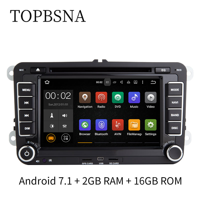 TOPBSNA 7 inch Android 7 1 2 Din font b Car b font Multimedia player For