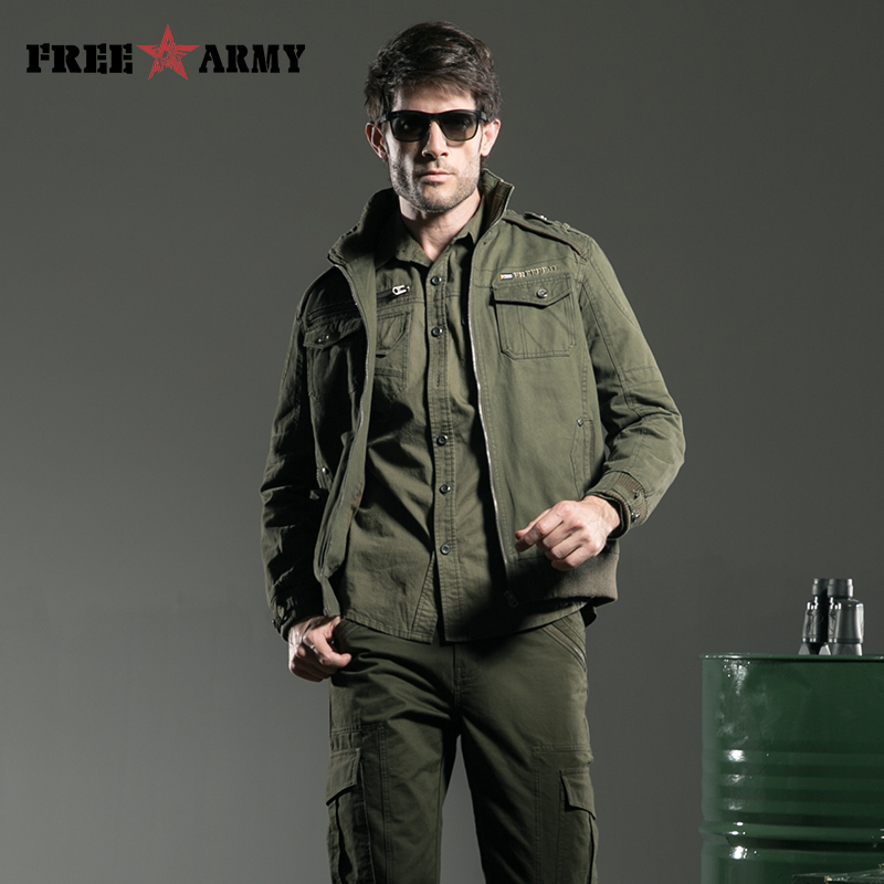 Masculino Veste À Hiver Militaire Marque Mâle Army Col Automne Green Ms Hommes Glissière Montant Les Outwear Pour Vêtements 6188a Oqg51