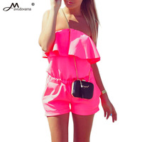 Women Jumpsuit 2017 Summer Fashion Casual Ruffles Strapless Rompers Bodysuit Blue White Pink