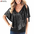 Vancol 2017 new arrival summer Shawl sleeves sequined Clothing Plus Size 2XL Fashion v neck sexy t-shirt Female Womens  Top Tees