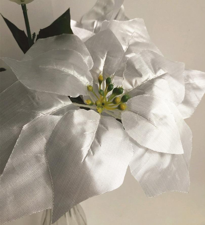 6 adet Yapay Poinsettia Noel Çiçek 48 cm kırmızı / altın / - Tatiller ve Partiler Için - Fotoğraf 6