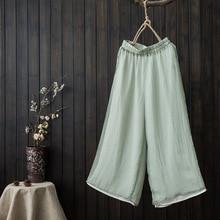 Оригинальные летние женские шифоновые прямые брюки девять брюки с высокой талией свободные двойные широкие брюки