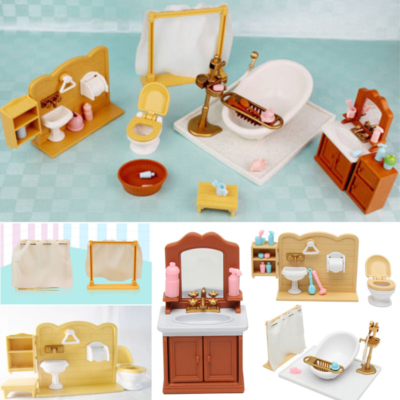 Plastic Mini Bathroom Miniatures Furnitures Kits Set <font><b>For</b></font> DIY DollHouse Kids <font><b>Toy</b></font> Decor Doll Gift <font><b>for</b></font> <font><b>Children</b></font> image