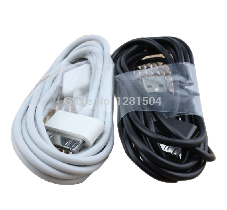2m 6FT Long White Black USB Sync Data Charger Cable wire Cord for Apple iPhone 4