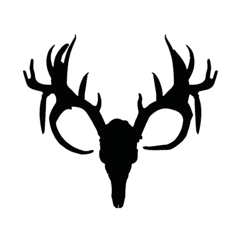 12.7*11.3CM Deer Skull Hunting Vinyl Car Styling Decal Cool Motorcycle And Car Stickers Black/Silver S1-2500