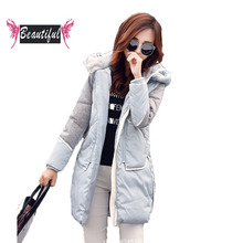Women winter medium long jacket casual long sleeve with hood loose white duck down coat mujer 2016 winter plus size outerwear