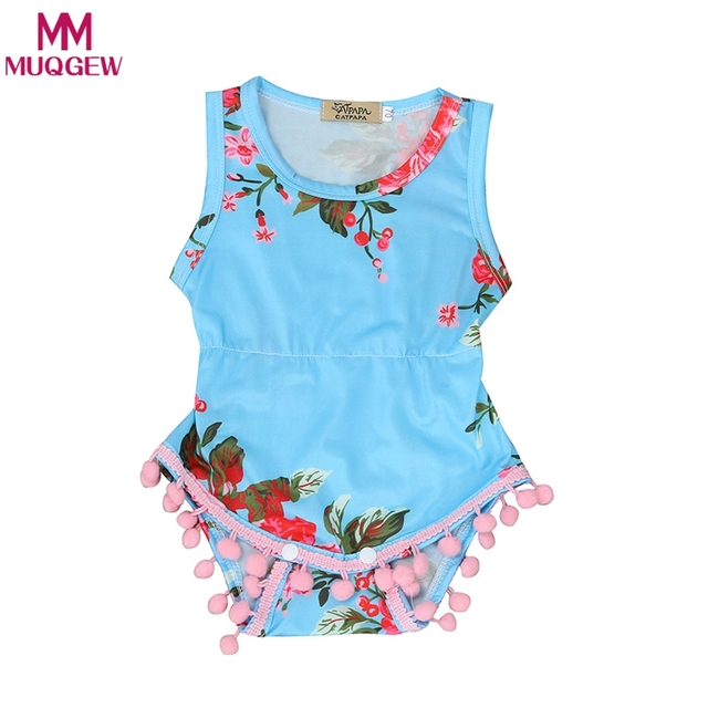 10522329f4b 2018 New Floral Pattern Infantil Baby Girl Romper Para Bebe Tassel Ball  Rompers One Piece Newborn Baby Clothes Suit Bebe