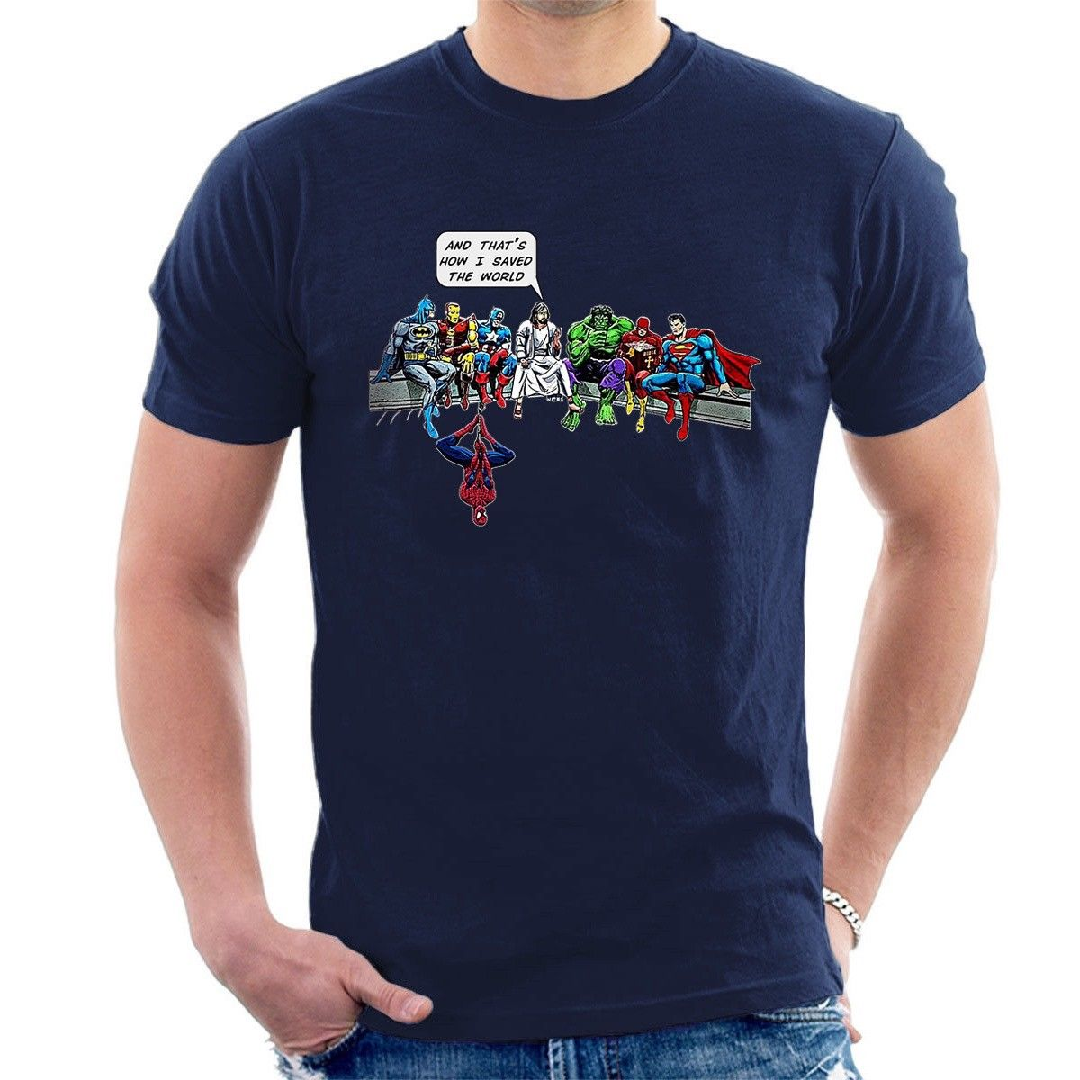 AND THAT S HOW I SAVED THE WORLD T-SHIRT Jesus men heroes funny inspired B05 New T Shirts Funny Tops Tee free shipping