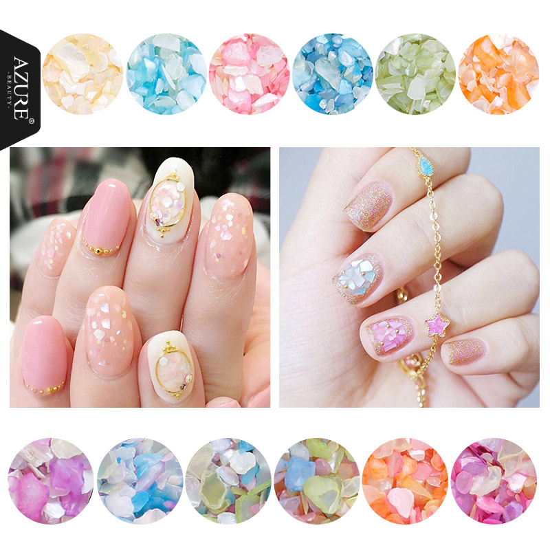 Azure Beauty 1Box 2g Shell Sequins Nail Powder 12 Color For Nail Gel Ornament Irregular Flakes Manicure 3D Nail Art Decorations mioblet 2g box mirror effect nail glitter powder shiny rose gold purple mirror chrome powder dust nails art pigment diy manicure