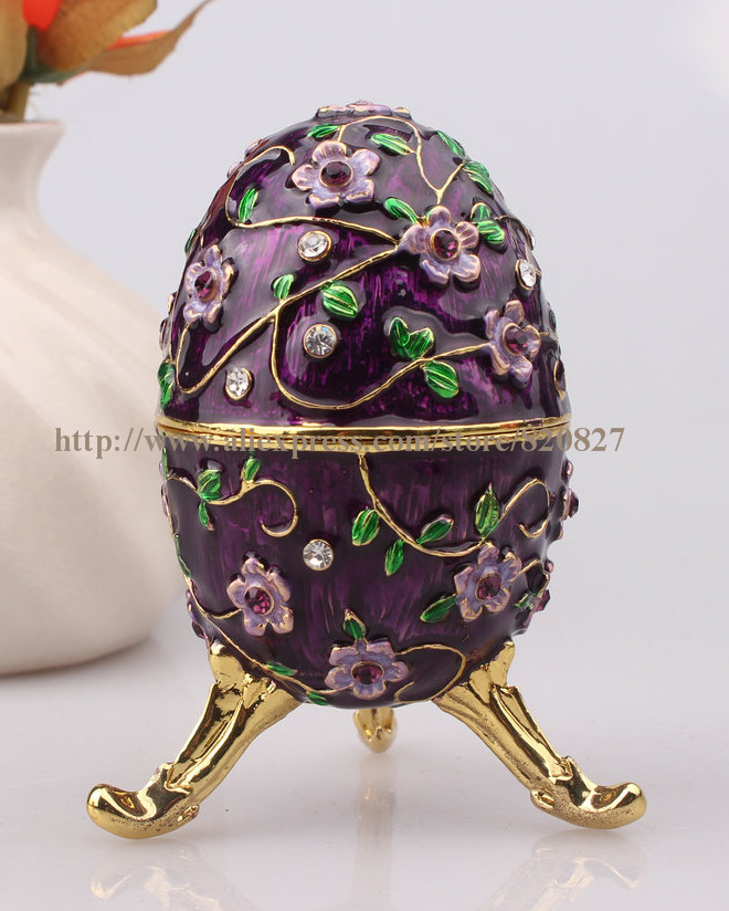 Faberge Egg Crystals Jewellery Jewelry Trinket Ring Gift Box Egg Trinket Vintage Decorations Hinged Footed Egg Shape Trinket Box big handmade enamel fish shape promo gifts new cute jewelry box red fish box crystals jewelry box fish trinket box red