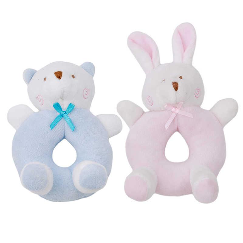 Bebé lindo conejo Oso de dibujos animados juguetes de peluche sonajero campana anillo recién nacido soporte de mano cuna móvil bebé suave juguetes de peluche