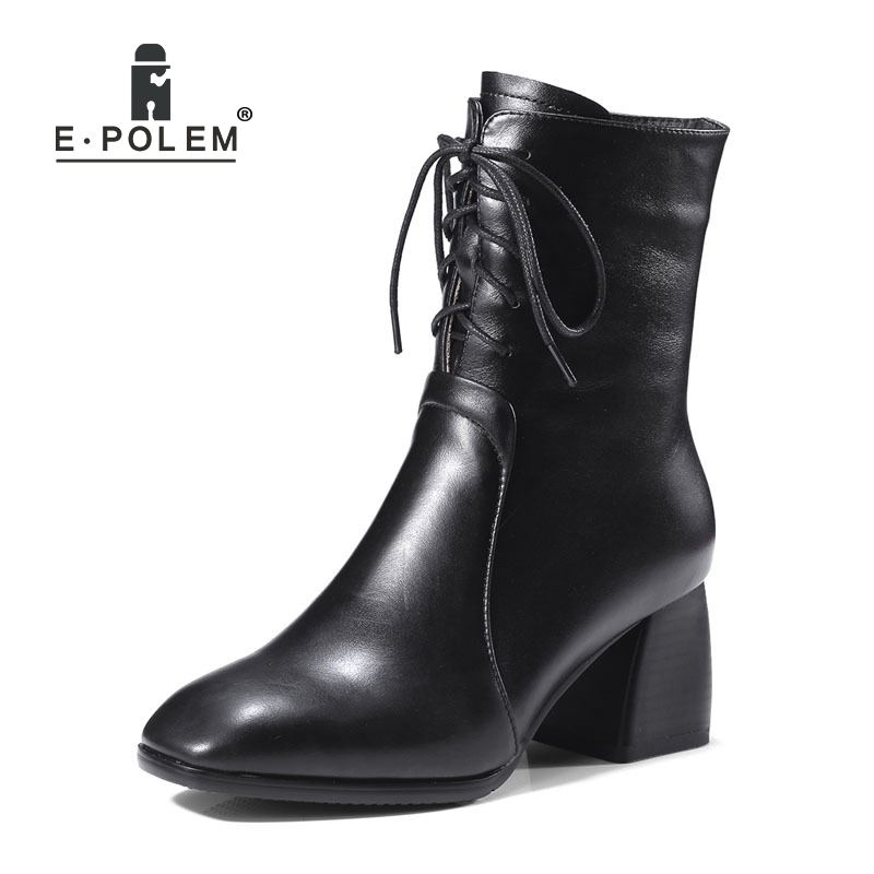 Genuine Leather Female  Boots Punk Lace-Up Zip Ankle Boots High Thick Heel Women Short Boots Teenage Girl Square Toe BootsGenuine Leather Female  Boots Punk Lace-Up Zip Ankle Boots High Thick Heel Women Short Boots Teenage Girl Square Toe Boots