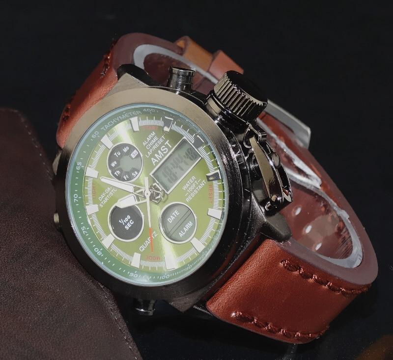 AMST Military Watches Dive 50M Nylon&Leather Strap LED Watches Men Top Brand Luxury Quartz Watch reloj hombre Relogio Masculino 16