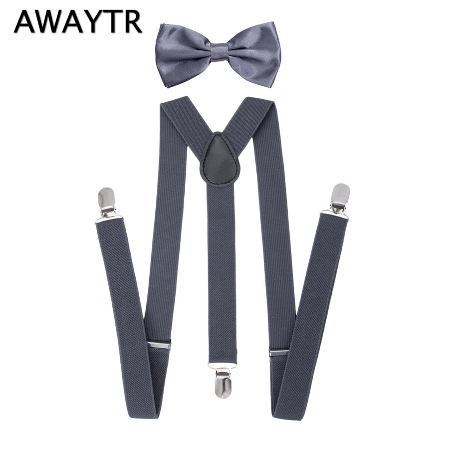 AWAYTR Grey Suspenders for Kids 90cm Braces High Quality Straps with Three Clips Bow Ties Suspenders Wedding Party Business