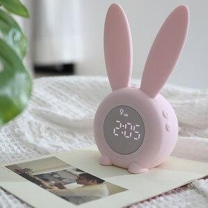 Image 4 - Reloj despertador creativo de conejo, reloj despertador Led Digital creativo de dibujos animados para sala de estar, suministros para el hogar